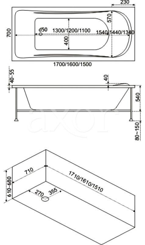 Стандартные размеры прямоугольной ванны