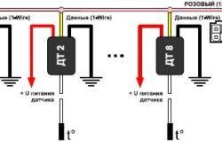 Схема подключения датчиков температуры