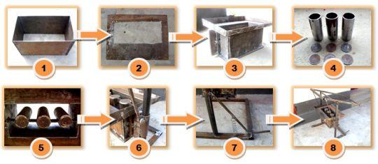 O matriță de lemn pentru producerea shlakoblokov